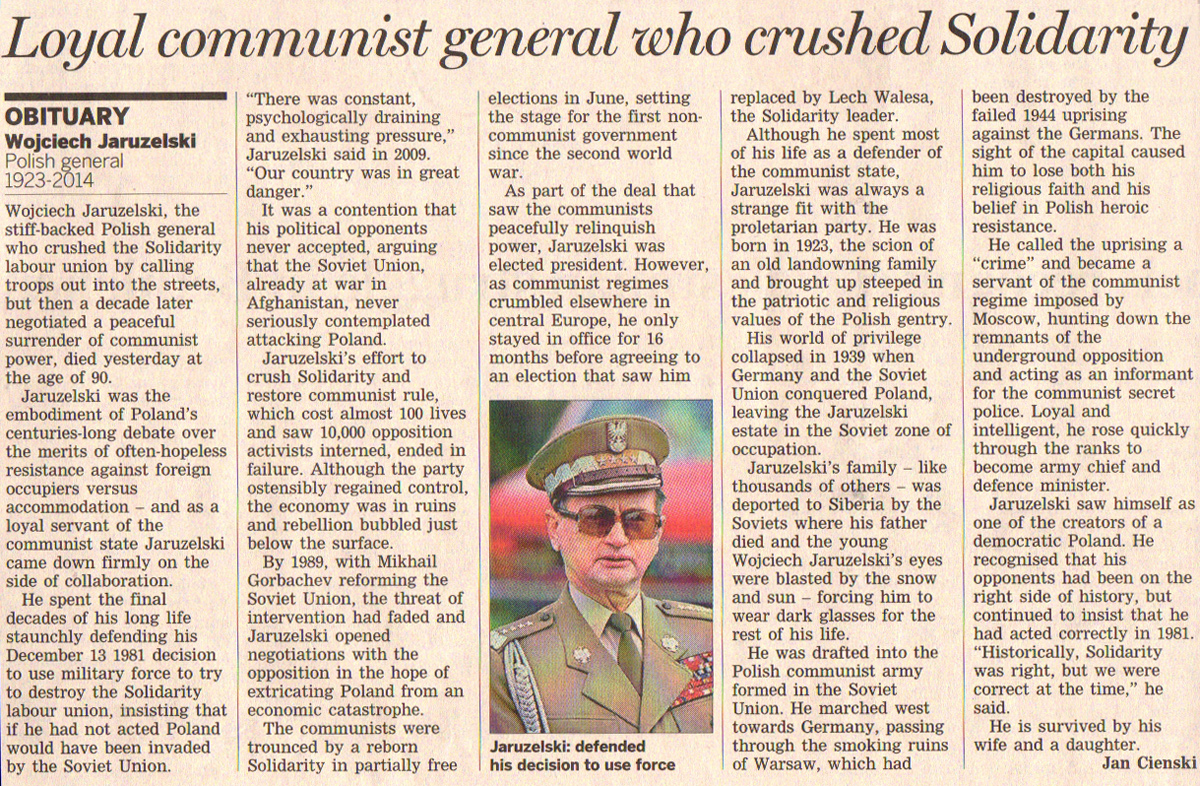 General Wojciech Jaruzelski - Financial Times Obituary 2014