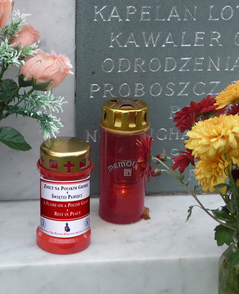 A flame on a Polish Grave